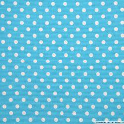 Tissus Piqué de coton pois blancs sur fond bleu turquoise