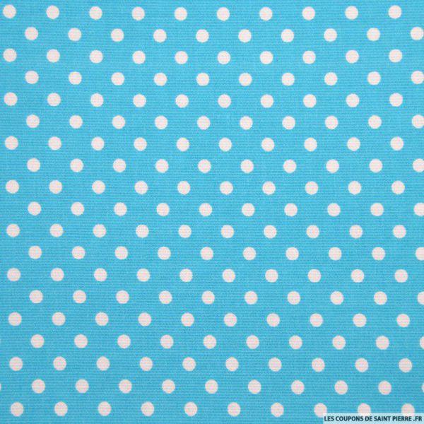 Tissu Piqué de coton pois blancs sur fond bleu turquoise
