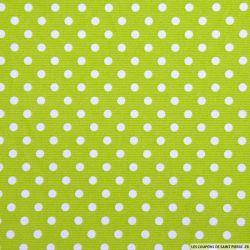Tissus Piqué de coton pois blancs sur fond vert