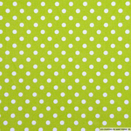Tissu Piqué de coton pois blancs sur fond vert