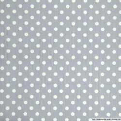 Tissus Piqué de coton pois blancs sur fond gris