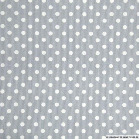 Tissu Piqué de coton pois blancs sur fond gris