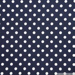 Tissus Piqué de coton pois blancs sur fond bleu marine