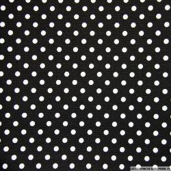 Tissu Piqué de coton pois blancs sur fond noir