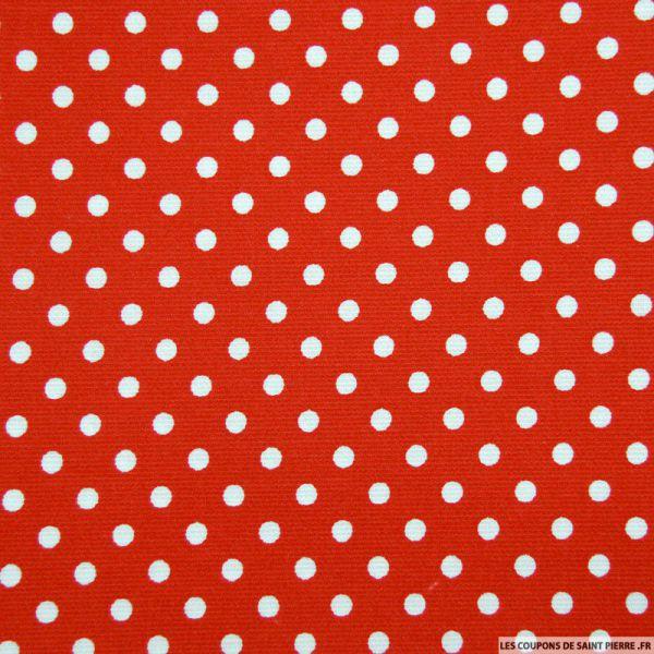 Tissu Piqué de coton pois blancs sur fond rouge