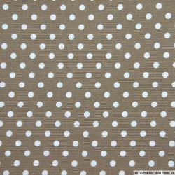 Tissus Piqué de coton pois blancs sur fond taupe