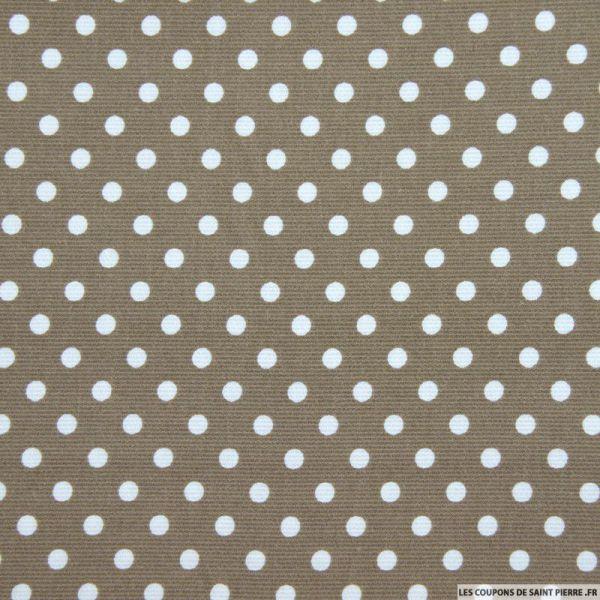 Tissu Piqué de coton pois blancs sur fond taupe