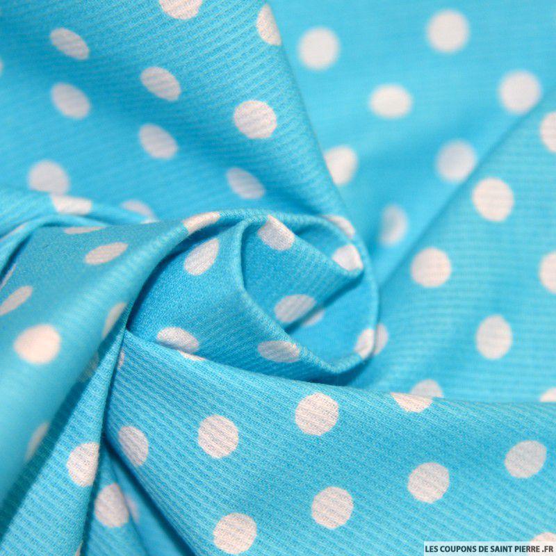Tissu piqu de coton pois blancs sur fond bleu turquoise - Tissus bleu turquoise ...