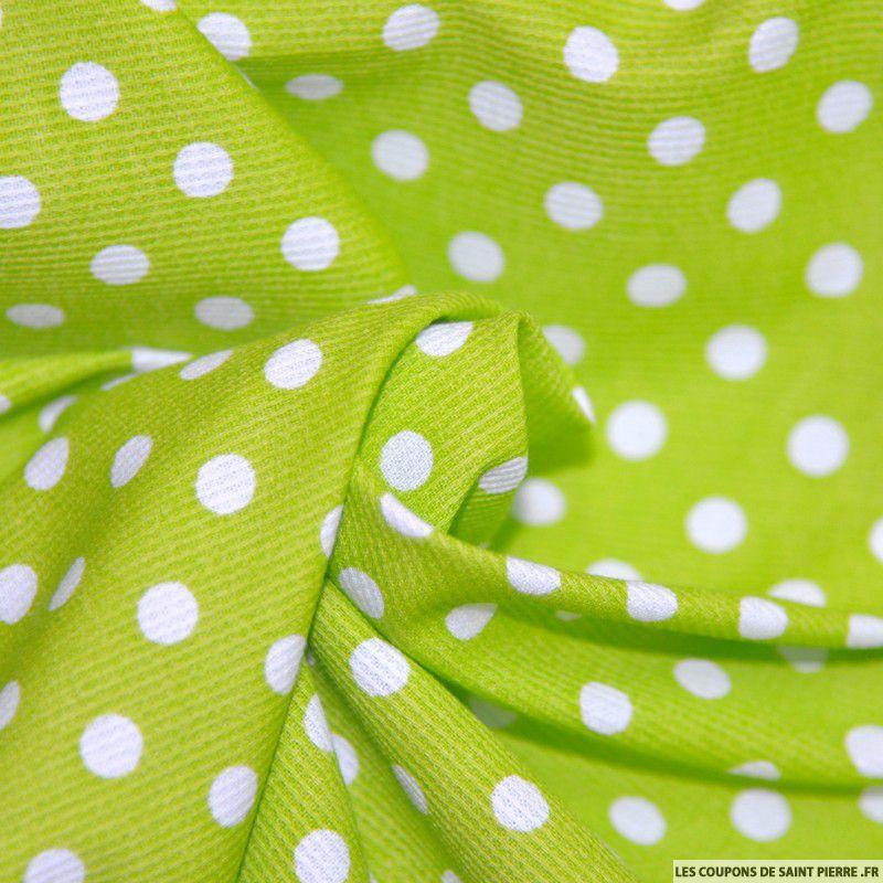 tissu piqu de coton pois blancs sur fond vert. Black Bedroom Furniture Sets. Home Design Ideas