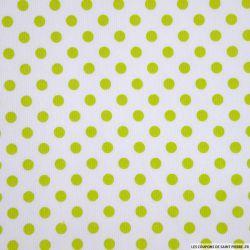 Tissus Piqué de coton milleraies imprimé pois vert anis sur fond blanc