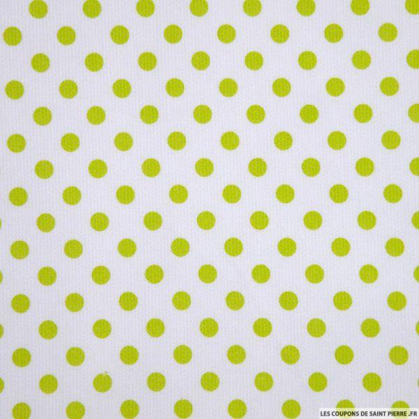 Tissu Piqué de coton milleraies imprimé pois vert anis sur fond blanc