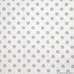 Tissus Piqué de coton milleraies imprimé pois gris sur fond blanc