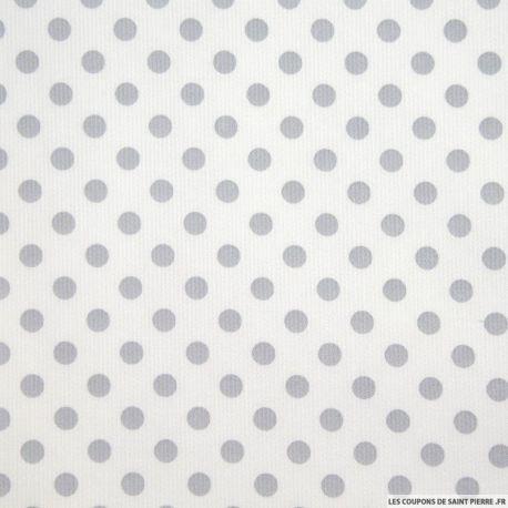 Tissu Piqué de coton milleraies imprimé pois gris sur fond blanc