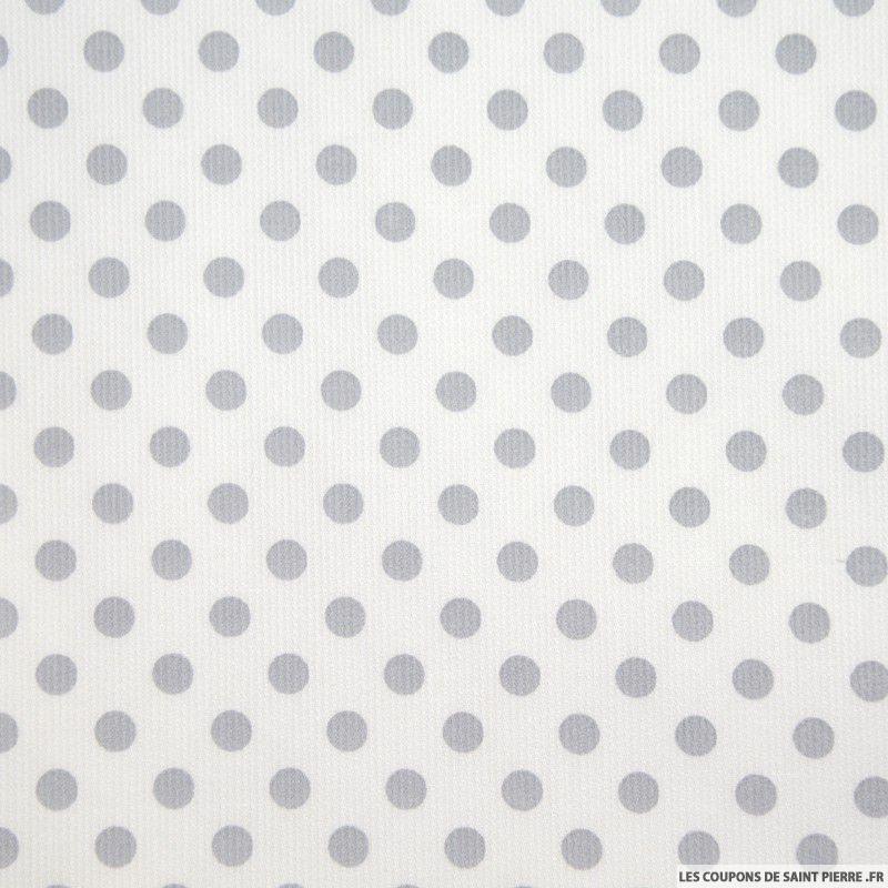 Tissu piqu de coton pois gris sur fond blanc - Les couleurs des tissus ...
