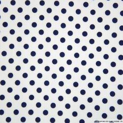 Tissus Piqué de coton milleraies imprimé pois bleu marine sur fond blanc