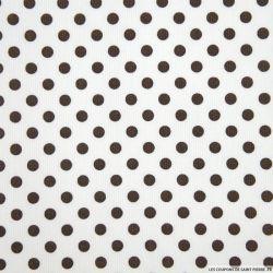 Tissus Piqué de coton milleraies imprimé pois marrons sur fond blanc