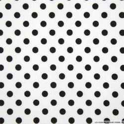 Tissus Piqué de coton milleraies imprimé pois noirs sur fond blanc