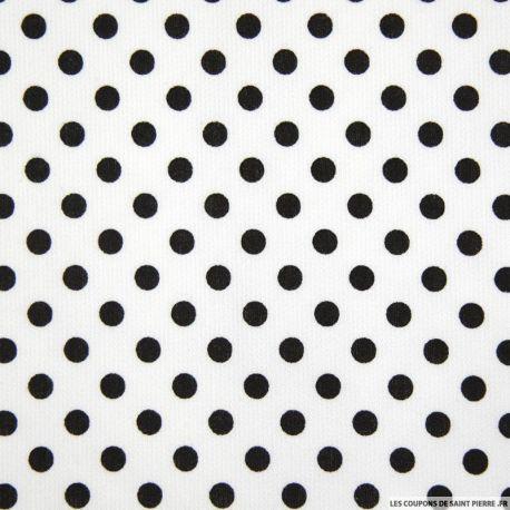 Tissu Piqué de coton milleraies imprimé pois noirs sur fond blanc
