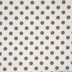 Tissus Piqué de coton milleraies imprimé pois taupe sur fond blanc