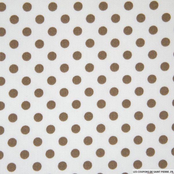 Tissu Piqué de coton milleraies imprimé pois taupe sur fond blanc
