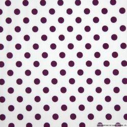 Tissus Piqué de coton milleraies imprimé pois prune sur fond blanc