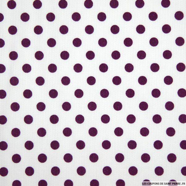 Tissu Piqué de coton milleraies imprimé pois prune sur fond blanc