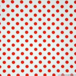 Tissus Piqué de coton milleraies imprimé pois rouge sur fond blanc