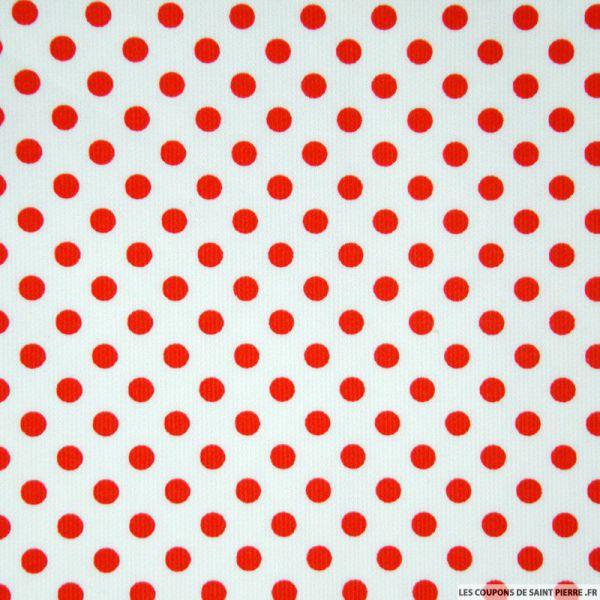 Tissu Piqué de coton milleraies imprimé pois rouge sur fond blanc