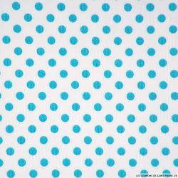 Piqué de coton milleraies imprimé pois turquoise sur fond blanc