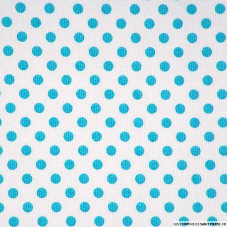 Tissu Piqué de coton milleraies imprimé pois turquoise sur fond blanc