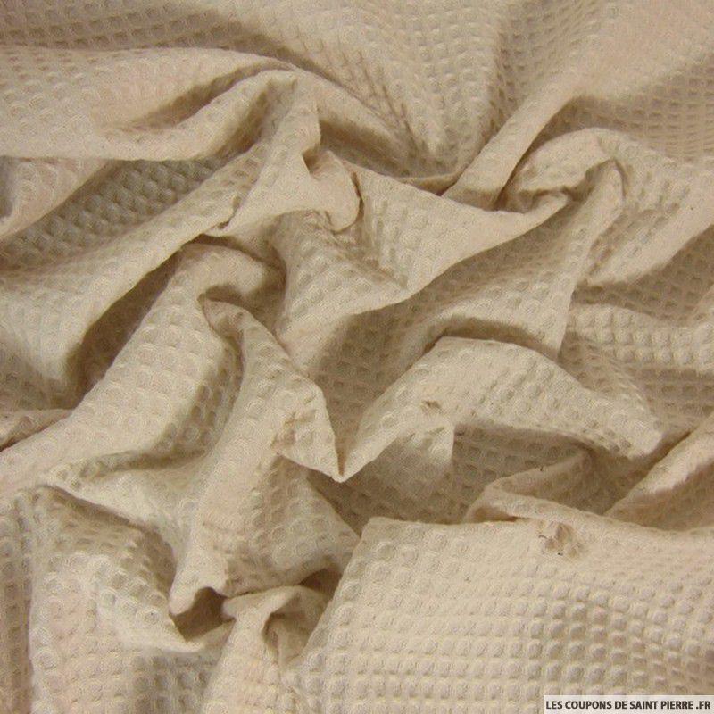 tissu coton nid d 39 abeille naturel. Black Bedroom Furniture Sets. Home Design Ideas