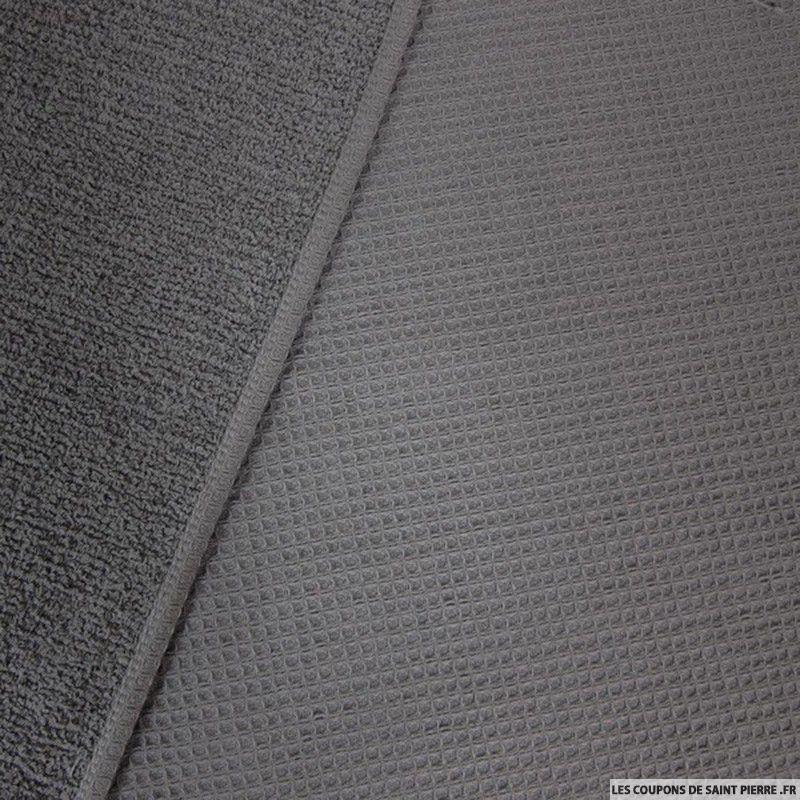Tissu coton double face ponge nid d abeille gris fonc - Voile de forcage au metre ...
