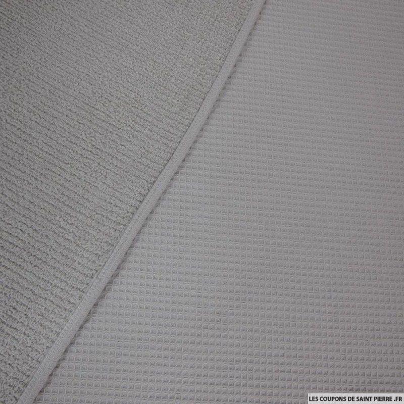 Tissu coton double face ponge nid d abeille gris clair for Carrelage nid d abeille