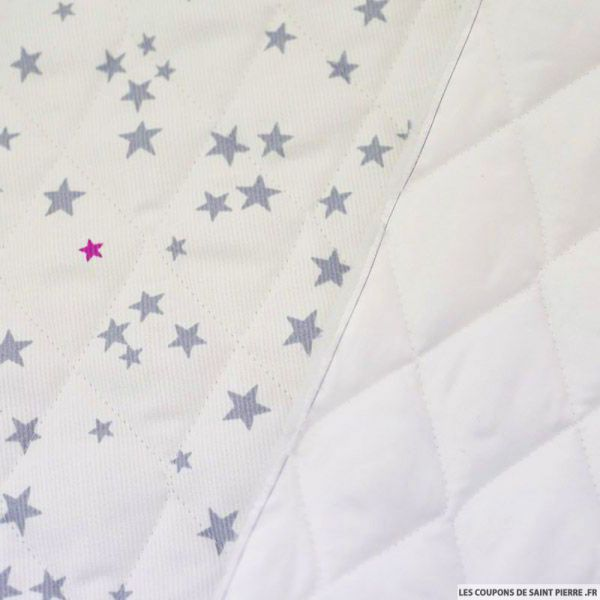 Tissu Piqué de coton matelassé étoiles gris et fushia au mètre