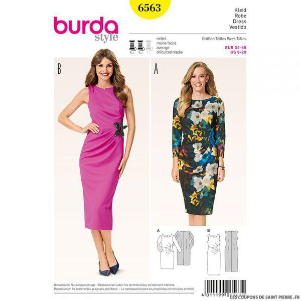 Patron N°6563 Burda : Robe asymétrique