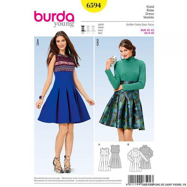 Patron N°6594 Burda : jupe plissée