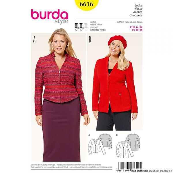 Patron N°6616 Burda : Veste zippée