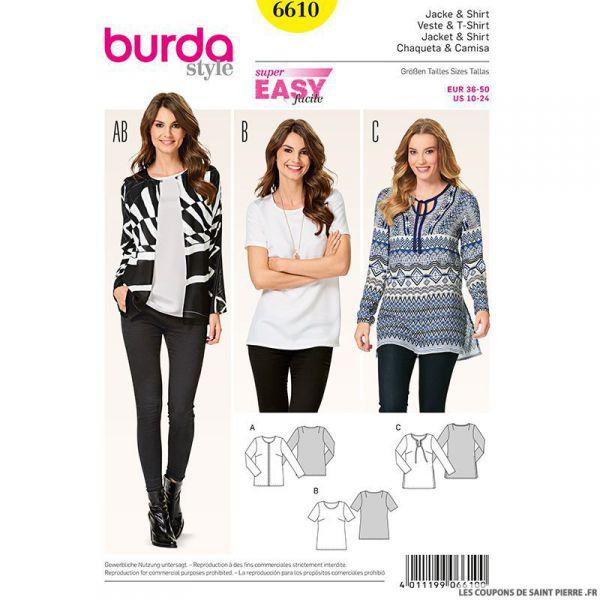 Patron N°6610 Burda : Tunique épurées