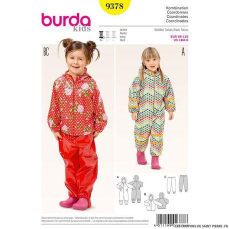 Patron N°9378 Burda : Combinaison enfant