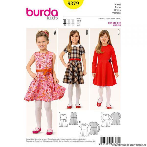 Patron N°9379 Burda : Robe fillette