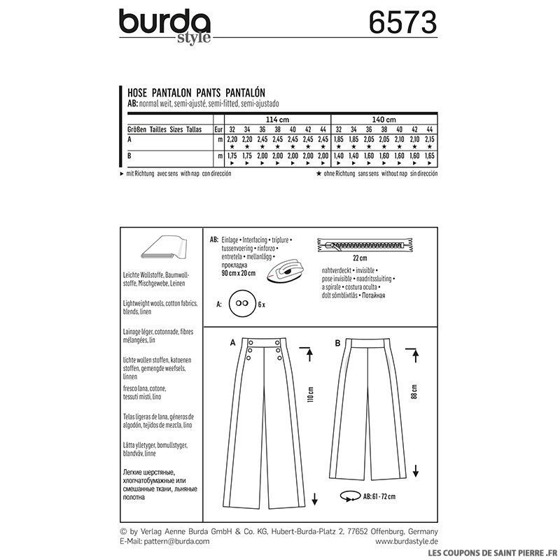 patron n 6573 burda jupe culotte. Black Bedroom Furniture Sets. Home Design Ideas