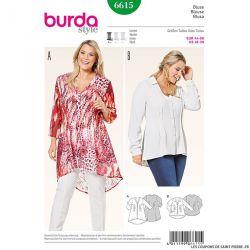 Patron N°6615 Burda : Blouse petits plis piqués
