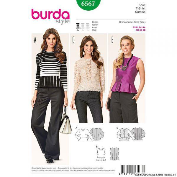 Patron N°6567 Burda : Blouse  basque