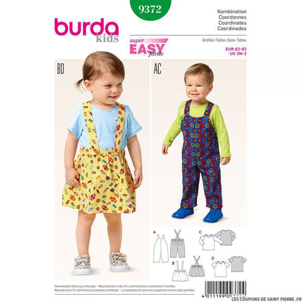 Patron N°9372 Burda : Salopette enfant
