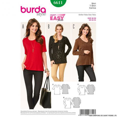 Patron N°6611 Burda : T-shirt simple