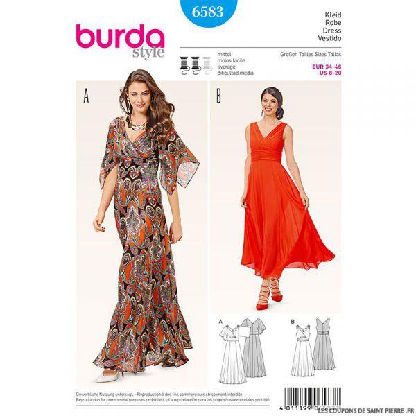 Patron N°6583 Burda : Robe de soirée drapés