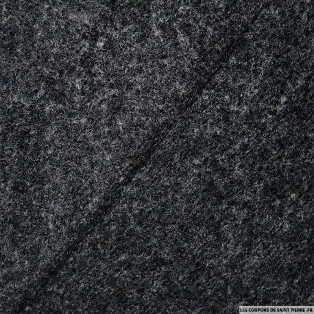 Tissu Laine bouillie gris anthracite chiné