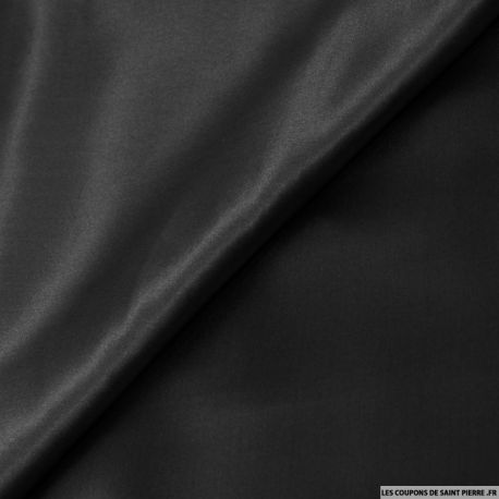Tissu Satin de Soie uni Noir