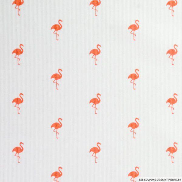 Tissus Piqué de coton imprimé flamant corail