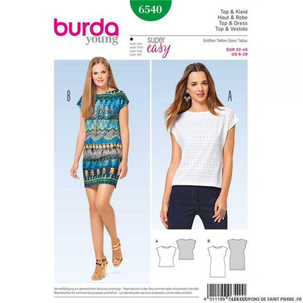 Patron Burda n°6540 : Top & Robe facile
